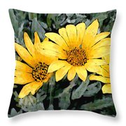 Yellow Gazanias Throw Pillow