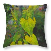 Yellow Heart Leaves IIi Photoart Throw Pillow