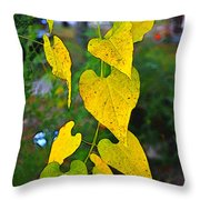 Yellow Heart Leaves  Photoart I Throw Pillow