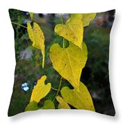 Yellow Heart Leaves Photoart II Throw Pillow