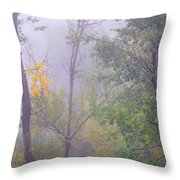 Yellow In The Fog Throw Pillow