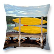 Yellow Kayaks Throw Pillow