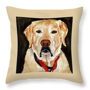 Yellow Labrador At Christmas Throw Pillow