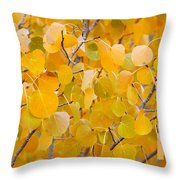 Yellow Leaf Patterns Throw Pillow