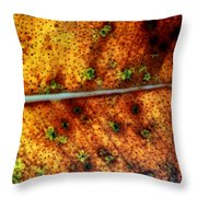 Yellow Leaf With Green Spots And Black Dots Throw Pillow