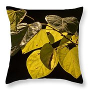 Yellow Leaves On A Tree Branch Throw Pillow