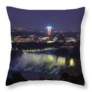 Yellow Light Over The Niagara Falls  - Canada Throw Pillow