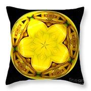Yellow Lily Kaleidoscope Under Glass Throw Pillow