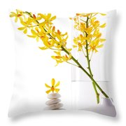 Yellow Orchid Bunchs Throw Pillow by Atiketta Sangasaeng
