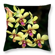 Yellow Orchid Cascade Throw Pillow