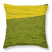 Yellow Rapeseed Growing Amongst Green Throw Pillow