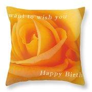 Yellow Rose Birthday Card Throw Pillow