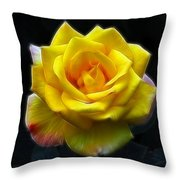 Yellow Rose In The Moonlight Throw Pillow