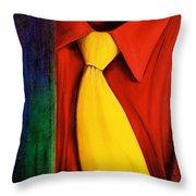 Yellow Silk Tie Throw Pillow