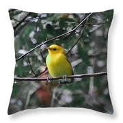 Yellow Songbird Throw Pillow