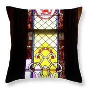 Yellow Stained Glass Window Throw Pillow