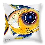 Yellow Study Fish Throw Pillow