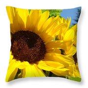 Yellow Sunflowers Art Prints Summer Sunflower Throw Pillow