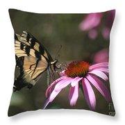Yellow Swallowtail And Purple Coneflower Throw Pillow