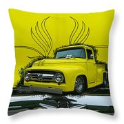 Yellow Truck In Truck Grill Throw Pillow