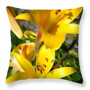 Yellow Trumpets Throw Pillow