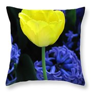 Yellow Tulip And Hyacinth Throw Pillow