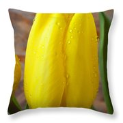 Yellow Tulip With Dew Throw Pillow