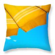 Yellow Umbrella With Sea And Sailboat Throw Pillow