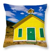 Yellow Western School House Throw Pillow