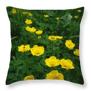 Yellow Wildflowers Blooming In Lush Throw Pillow