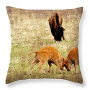 Yellowstone Bison Throw Pillow by Ellen Heaverlo