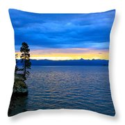 Yellowstone Lake Sunrise Throw Pillow