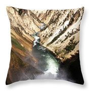 Yellowstone River Below Lower Falls Throw Pillow