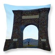 Yellowstone Roosevelt Arch Throw Pillow