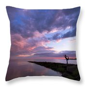 Yoga Dancer Asana On Beach Jetty Throw Pillow