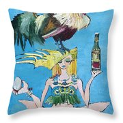 Yoga Girl With Cock - Bottle Of Wine And Egg Throw Pillow