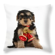 Yorkipoo Pup Wearing Christmas Bells Throw Pillow