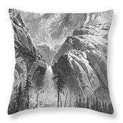 Yosemite Falls, 1874 Throw Pillow