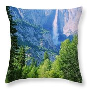 Yosemite Falls And Merced River Throw Pillow
