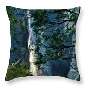 Yosemite Falls Through Trees Throw Pillow