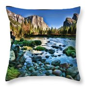 Yosemite Rocks In River Throw Pillow