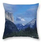 Yosemite View In Snow Throw Pillow