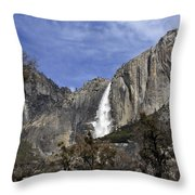 Yosemite Water Fall Throw Pillow