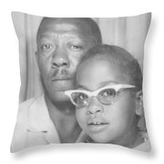 Young Angela With Her Dad Throw Pillow
