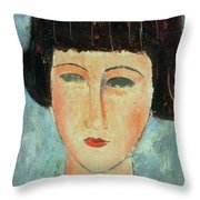 Young Brunette Throw Pillow