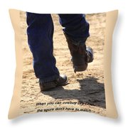 Young Cowboy With Spurs Throw Pillow