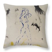 Young Female Nude In Agony While Running From Her Thoughts In Blue Yellow Black Serigraph Monoprint Throw Pillow