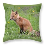 Young Fox Among The Dandelions Throw Pillow
