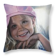 Young Girl In Pink Hat Throw Pillow