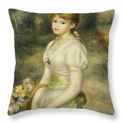 Young Girl With A Basket Of Flowers Throw Pillow